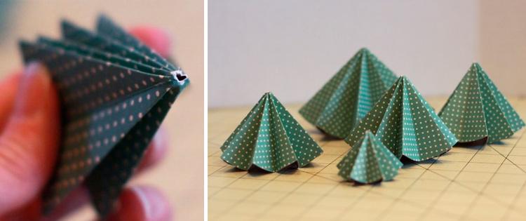 елочка оригами из картона