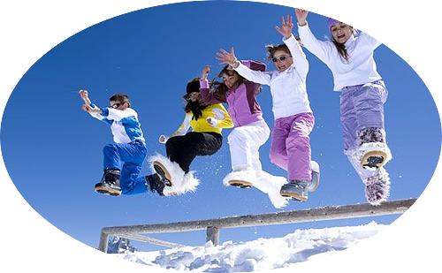 прыжок в снег