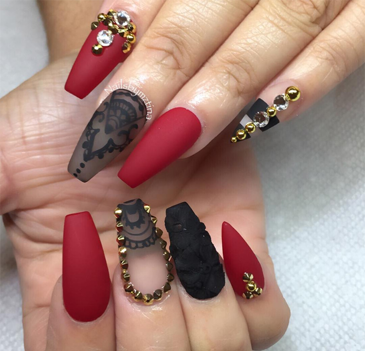 Дизайн ногтей красного цвета — лучшие идеи с фото