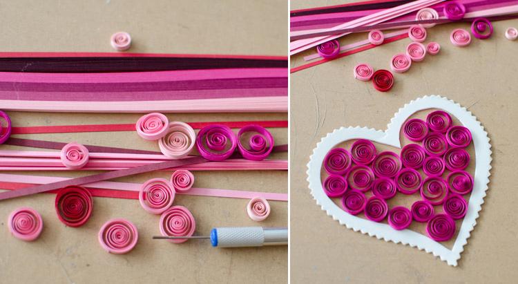 делаем валентинку из бумаги в технике квиллинг