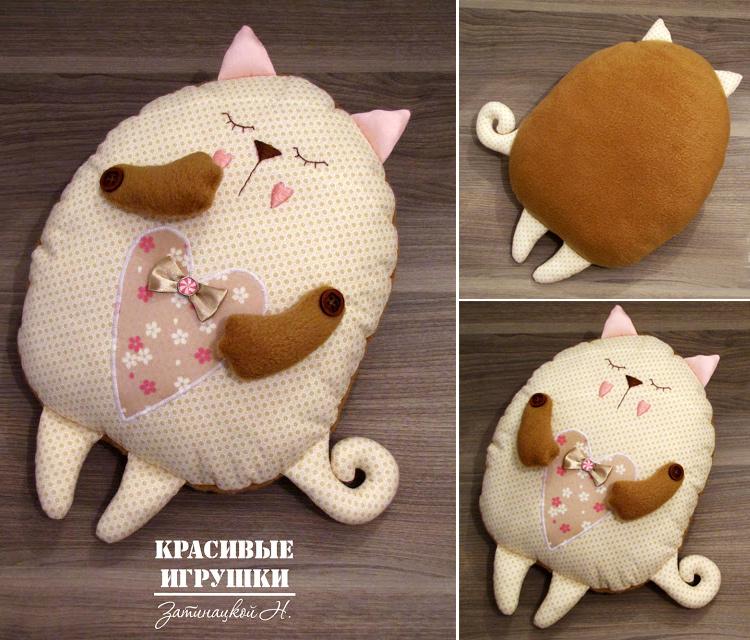кот-сплюшка подушка