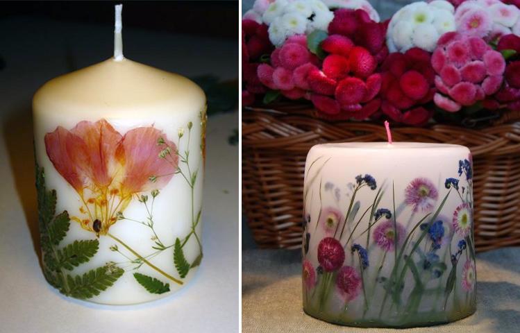 декупаж свечей сухоцветами