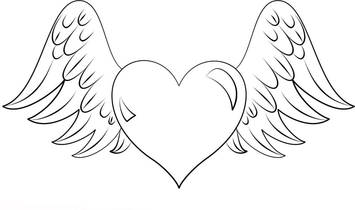 картинки как нарисовать сердце с крыльями красивые огурцов срежьте