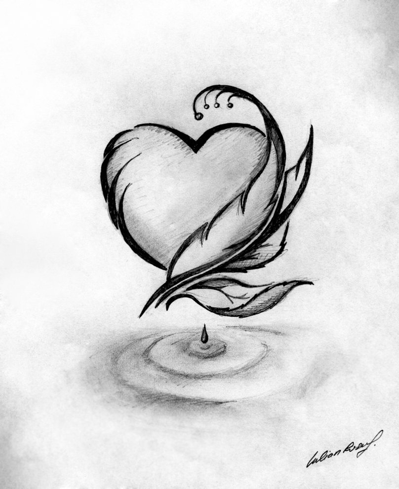 сердце карандашом