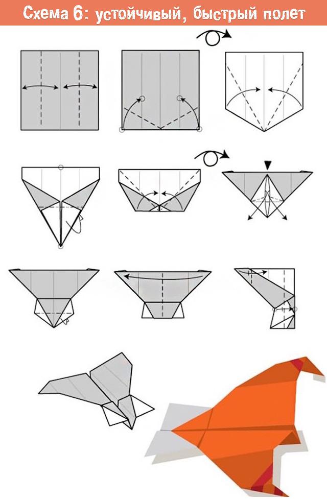 схема сложения быстрого самолетика из бумаги