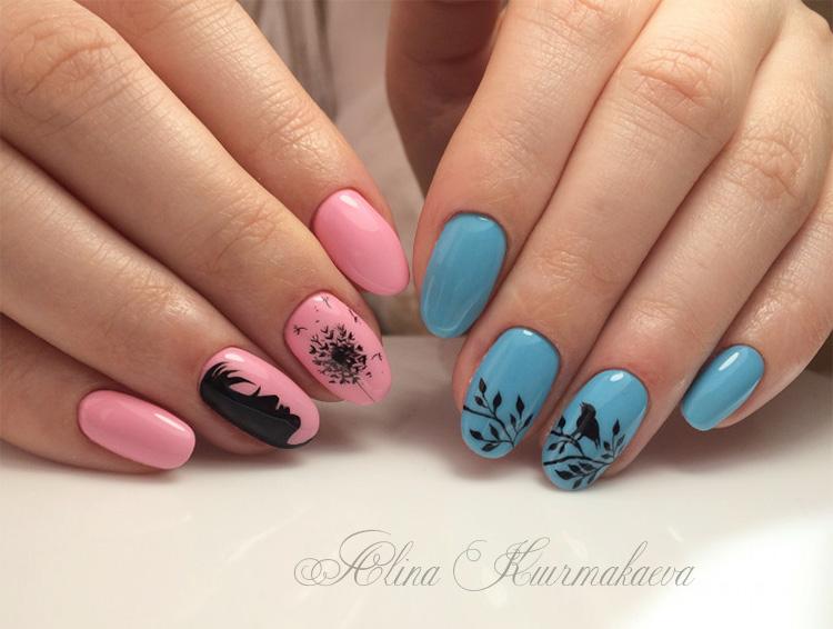 розоватый и голубой рисунок на ногтях