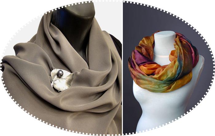 шарф палантин брошь