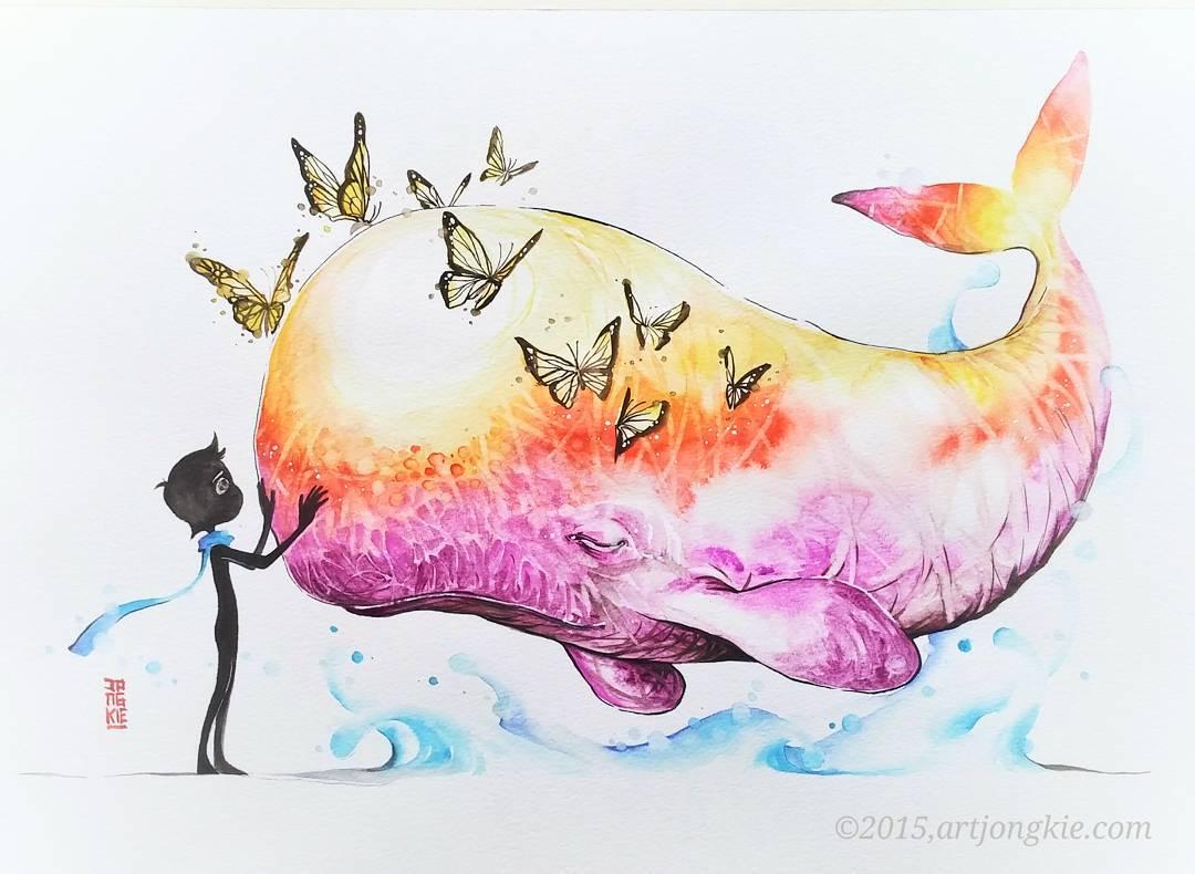 акварель позитивный рисунок кит и ребенок