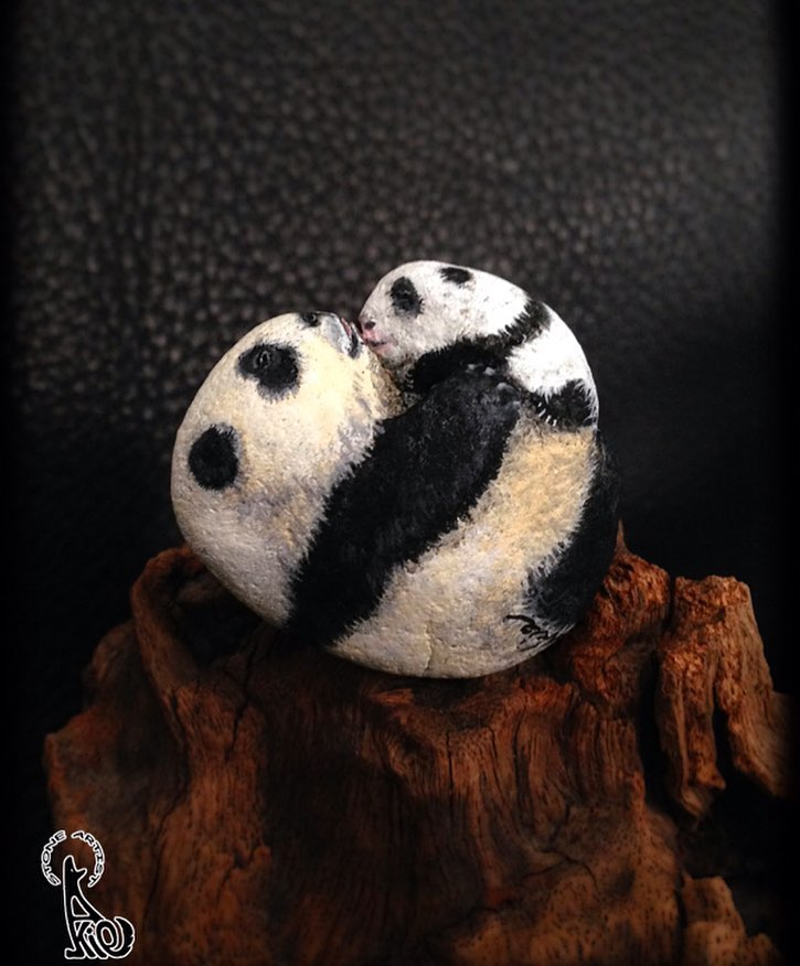 панды рисунок на камне
