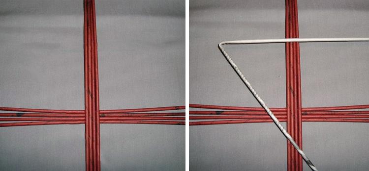 плетем круглое дно, делаем крестовину