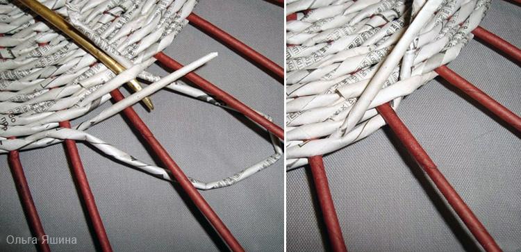 прячем концы рабочих трубочек в плетение