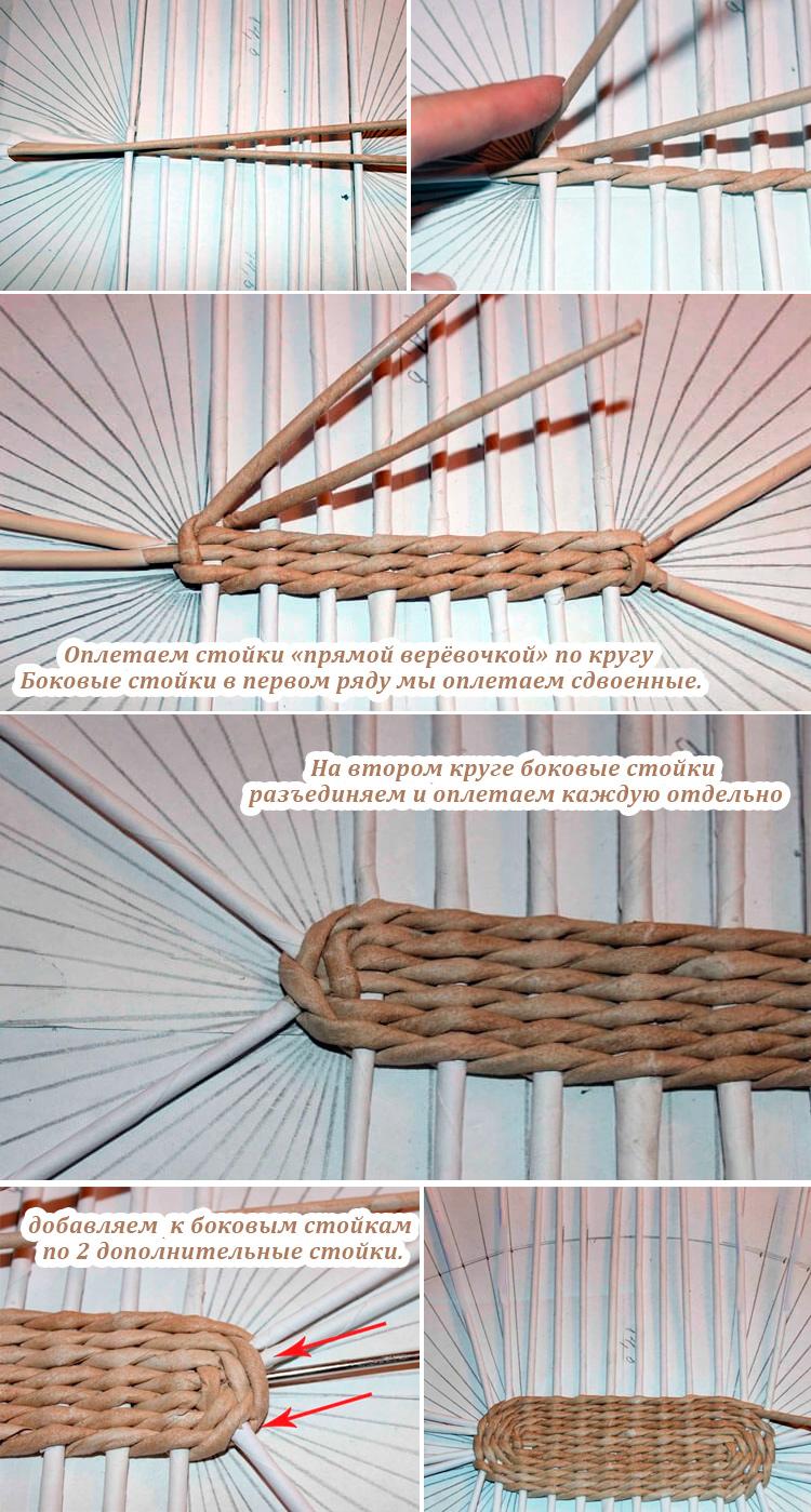схема плетения овального дна из газетных трубочек