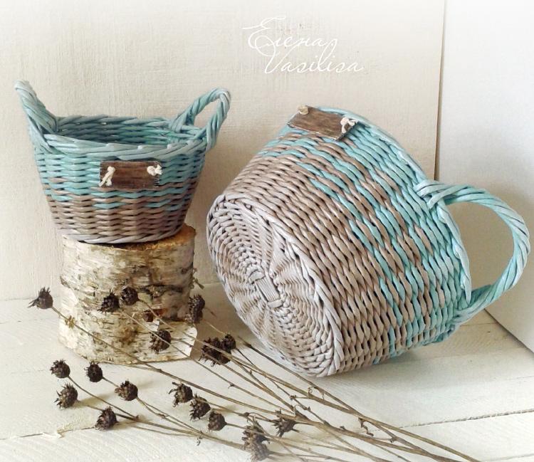 корзина - плетение простая веревочка