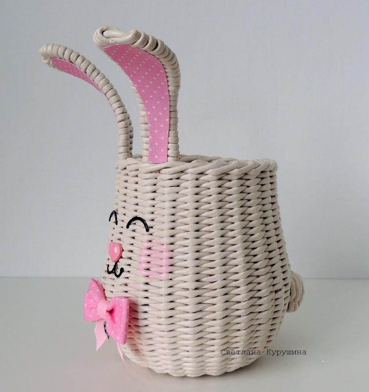 карандашница зайчик - плетение простая веревочка