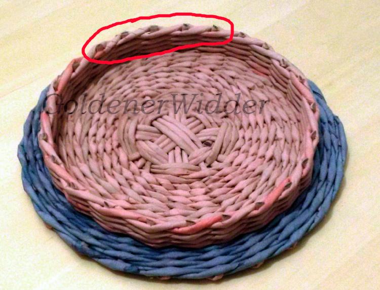 завершение плетения - обрезка стоечек, пенечки