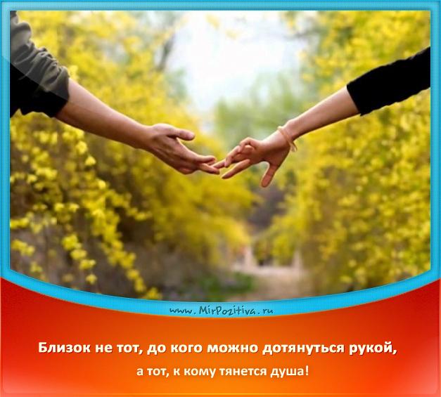Близок не тот, до кого можно дотянуться рукой, а тот, к кому тянется душа!