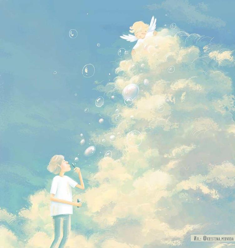 ангелочек на небе, мыльные пузыри в небо