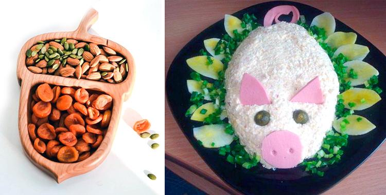 салат свинка и желудь