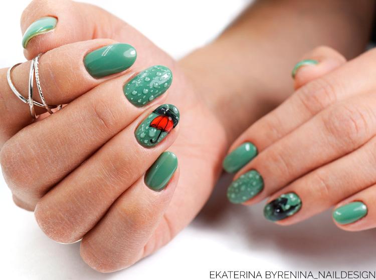 капельки на ногтях