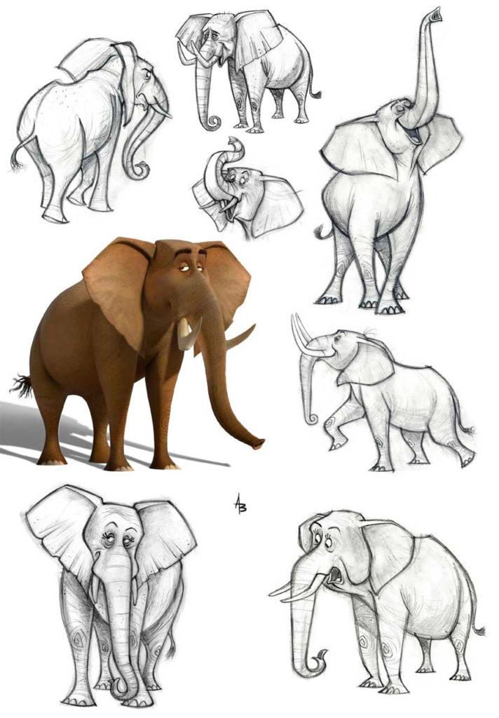 наброски слонов в разных позах