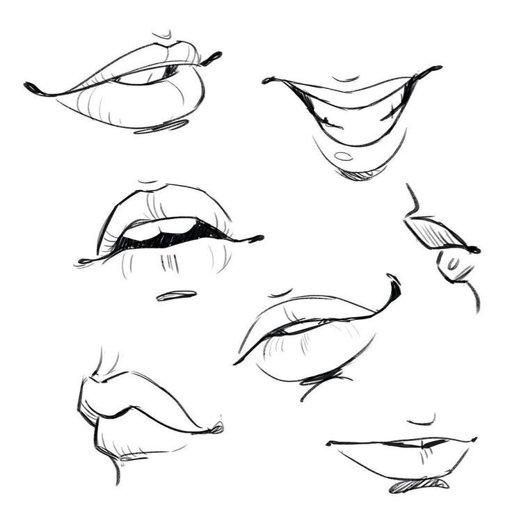 срисовка губы