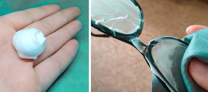 обработка пеной для бритья