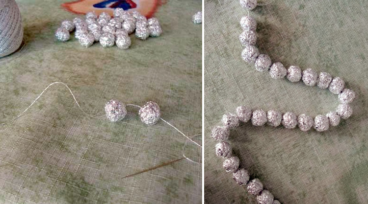 шарики из фольги на нити