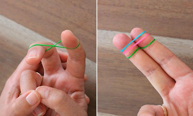 шаг 1 накидываем резинки на пальцы