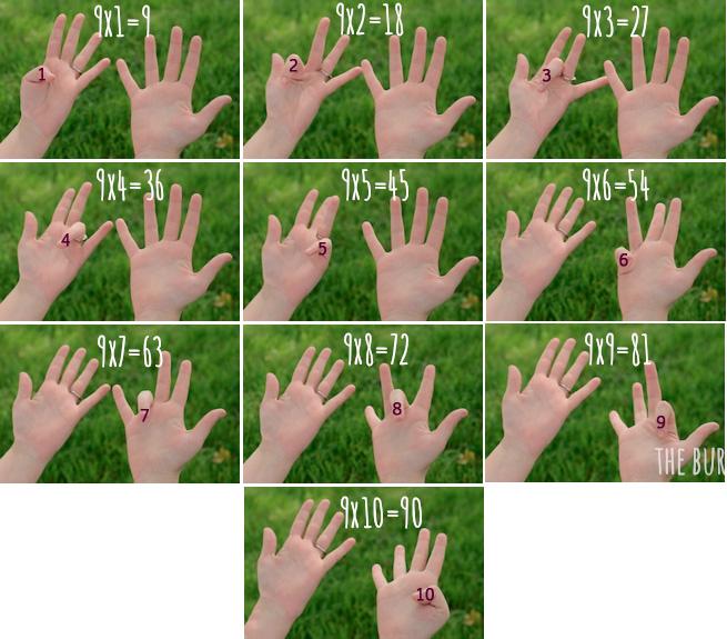 Умножение на пальцах
