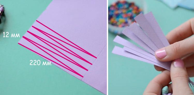 нарезаем полоски из бумаги