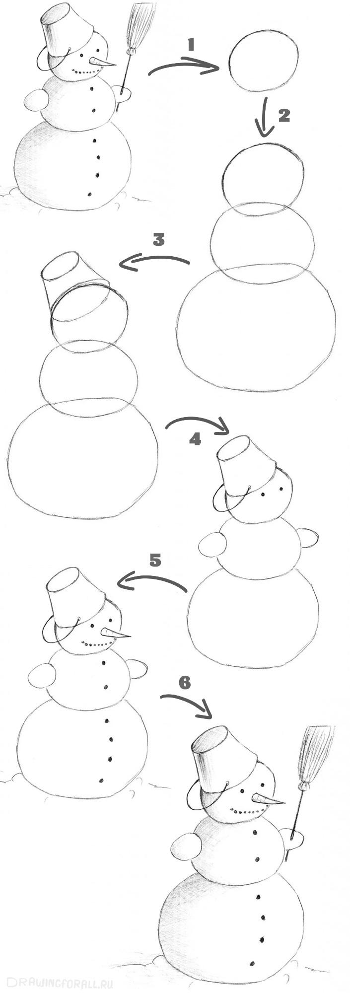 пошаговый мк снеговичка