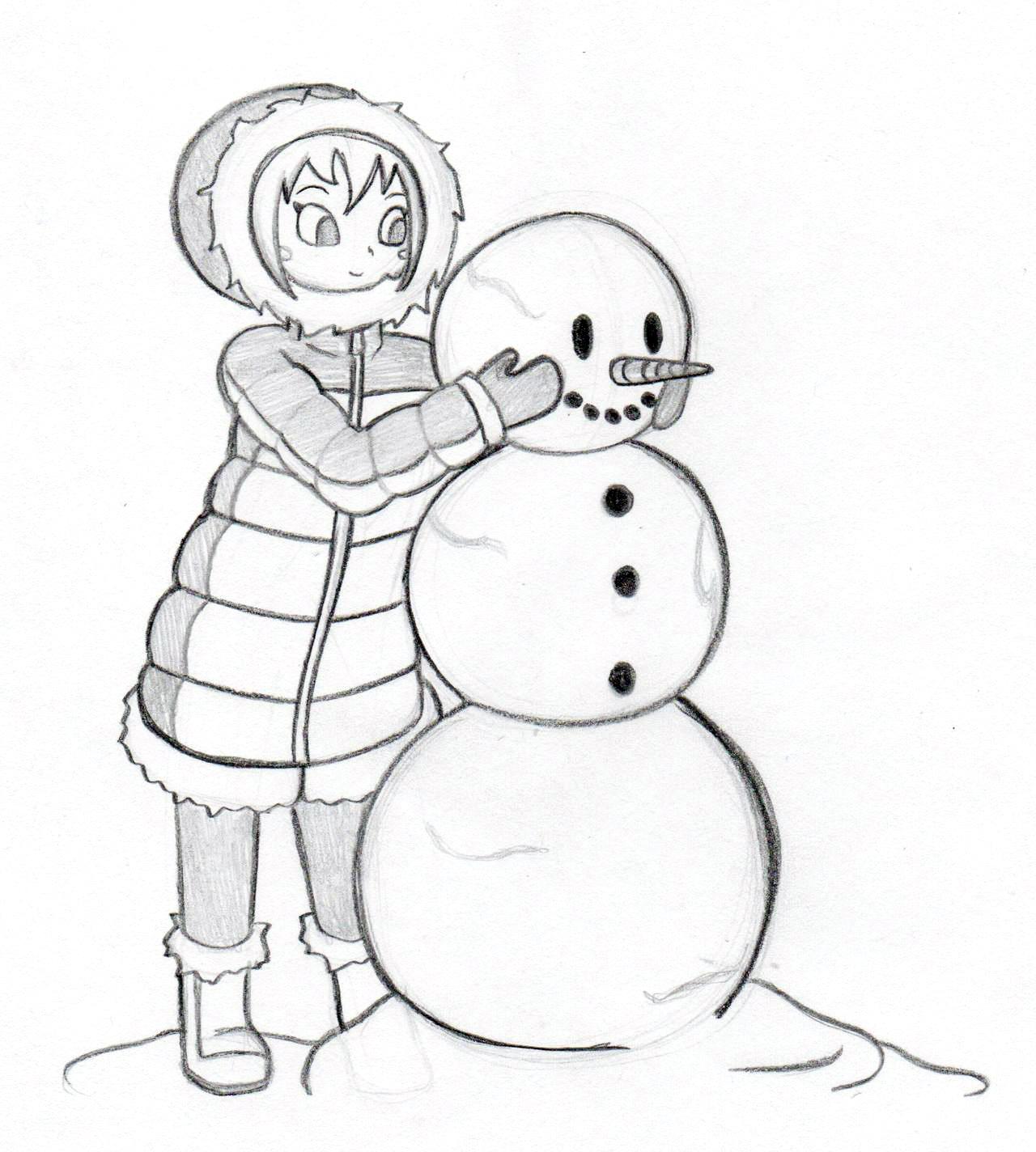 девочка лепит снеговика