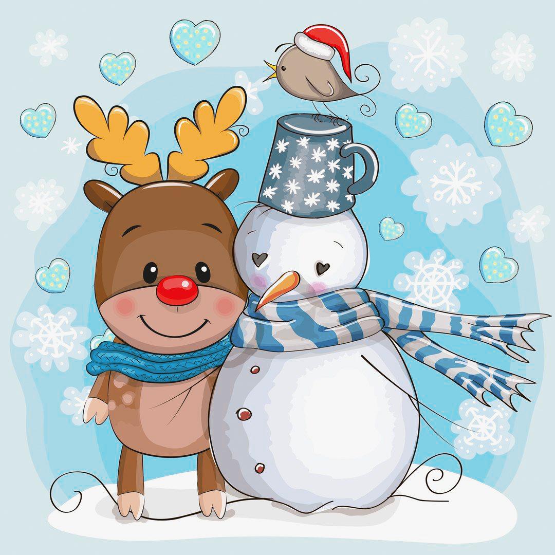 срисовка снеговики
