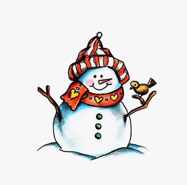 срисовка снеговик