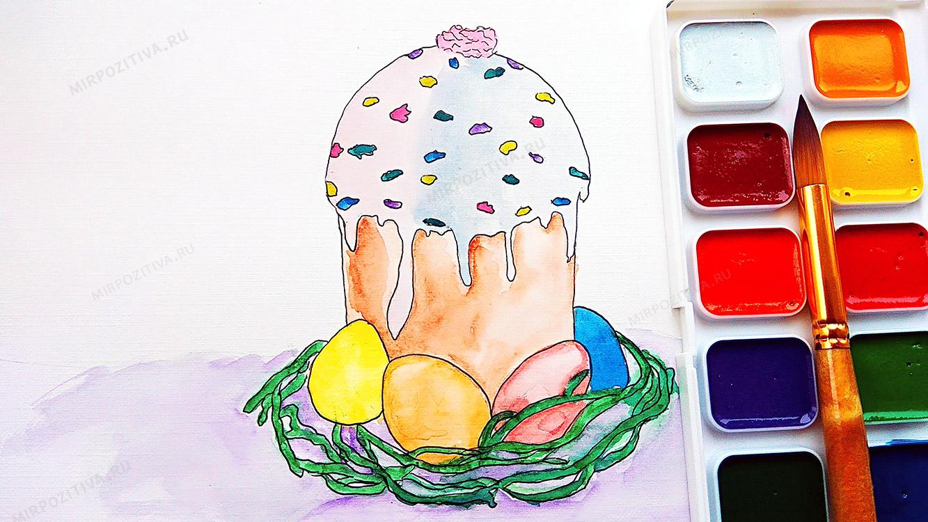 нарисовать кулич красками