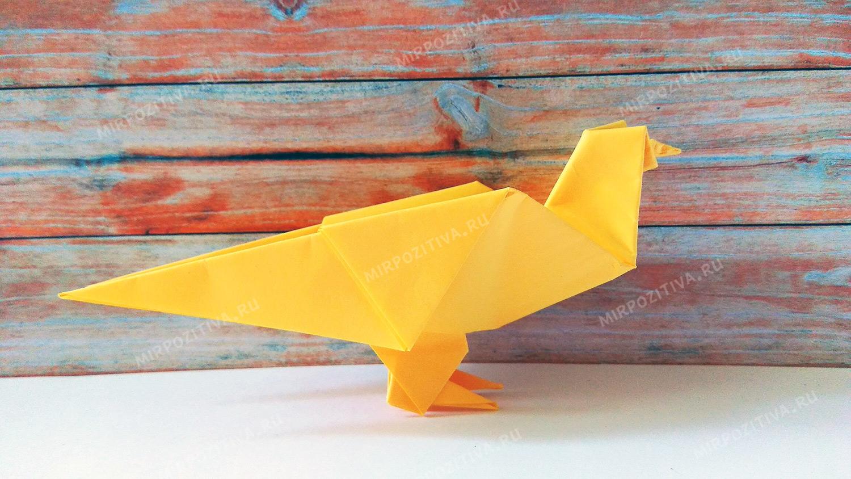 оригами голубь из бумаги желтый