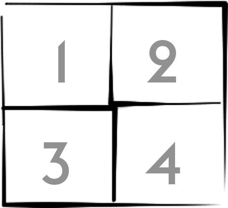 лист на 4 части